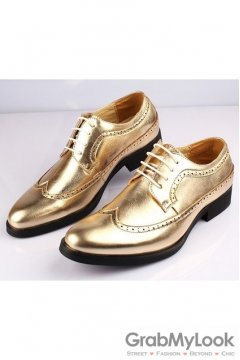 Gold Lace Up Vintage Point Head Oxfords Mens Shoes