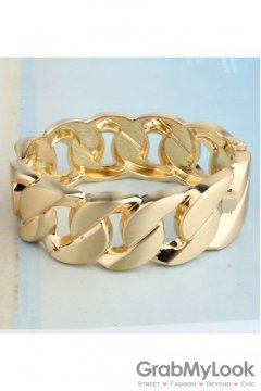 Punk Rock Gold Thick Chain Bracelet Bangle