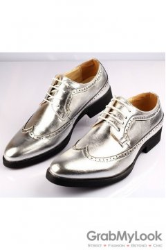 Silver Lace Up Vintage Point Head Oxfords Mens Shoes