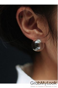Transparent Glass Bubble Sphere Earrings Ear Pins
