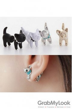 Metal 3D Cat Body Vintage Earrings Ear Pins