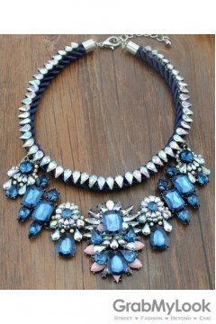 Rhinestone Crystal Diamante Glamorous Tribal Bohemia Vintage Blue Necklace
