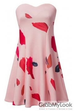 Pink Patels Red Lips Off Shoulder Low Cut Babydoll Skater Mini Skirt Cocktail Dress