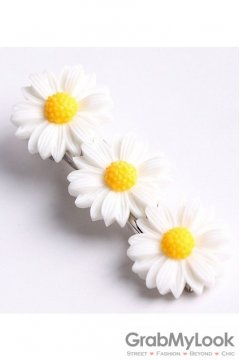 White Yellow Triple Camomile Sunflowers Flowers Hair Pins Hair Clips