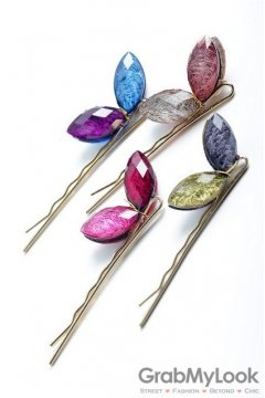 Colorful Diamante Gemstone Butterfly Goddess Flower Hair Pins Hair Clips