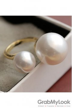 Duo Giant White Pearls Gold Silver Thumb Finger Ring
