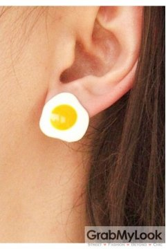Fried Eggs Up Side Down Ear Pins Earrings