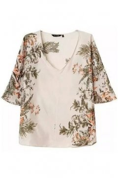 Cream Flower V Neck 3/4 Sleeves Retro Top Tunic Shirt