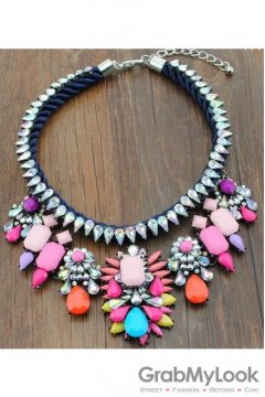 Rhinestone Crystal Diamante Glamorous Tribal Bohemia Vintage Colorful Necklace