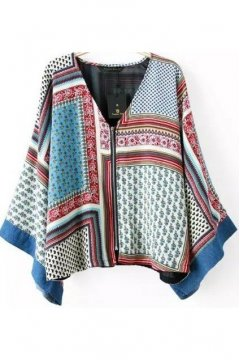 Vintage Retro Tribal Kimono Batwing Loose Fit Sleeves Cardigan Jacket Like Top Shirt