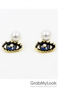 Big Eyes and White Pearl Vintage Earrings Ear Pins