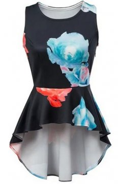 Black Giant Red Blue Abstract Flower Peplum Waist Sleeveless Shirt