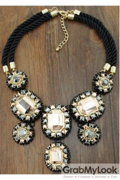Giant Rhinestone Crystal Diamante Glamorous Tribal Bohemia Vintage Gold Necklace
