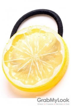 Slice Yellow Lemon Fruit Rubber Hair Band