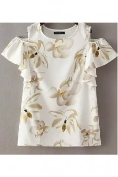 White Chiffon Giant Flower Orchid Off Shoulder Short Sleeves Women Shirt