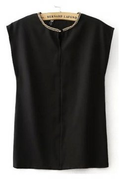 White Black Chiffon Beaded Collar Sleevesless Shirt