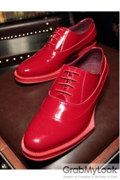 Red Patent Leather Lace Up Platforms Irregular Sole Oxfords Mens Sneakers Shoes