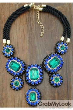 Giant Rhinestone Crystal Diamante Glamorous Tribal Bohemia Vintage Blue Green Necklace