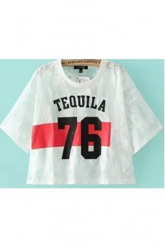 White Sheer Lace Baseball Cropped Short Sleeves 76 Tequila Layering Shirt
