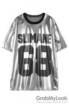 Silver Punk Rock Metallic 68 SLIMANE Short Sleeves T-Shirt