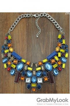 Geometric Rhinestone Crystal Diamante Glamorous Bohemia Vintage Colorful Silver Necklace