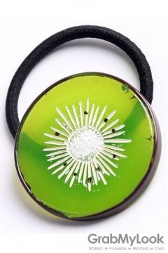 Slice Green Kiwi Fruit Rubber Hair Band