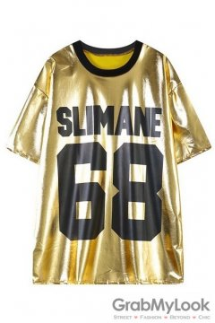 Gold Punk Rock Metallic 68 SLIMANE Short Sleeves T-Shirt