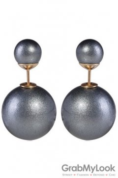 Pearl Black Spheres Balls Earrings Ear Rings Pin