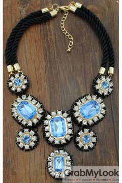 Giant Rhinestone Crystal Diamante Glamorous Tribal Bohemia Vintage Blue Necklace