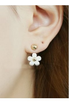 White Flower Floral Metal Gold Punk Rock Spheres Balls Earrings Ear Rings Pin