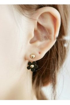 Black Flower Floral Metal Gold Punk Rock Spheres Balls Earrings Ear Rings Pin