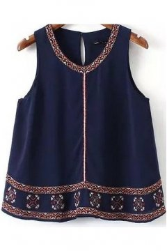 Vintage Dark Blue Retro Tribal Pattern Embroidered Sleeveless A Line Top Shirt