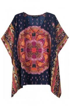 Tribal Exotic Bohemia Vintage Pattern Chiffon Bat Wing Loose Fit Top Shirt