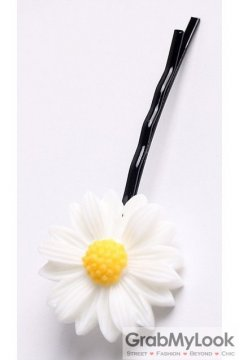 White Yellow Camomile Sunflower Flower Hair Pins Hair Clips
