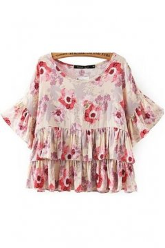 Pink Chiffon Flowers Floral Round Neck Ruffles 3/4 Sleeves Top Shirt