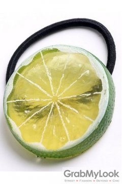 Slice Green Lime Fruit Rubber Hair Band