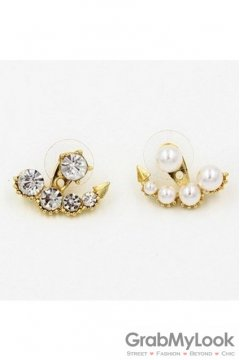 Gold Crystals Diamante Pearls Vintage Earrings Ear Pins