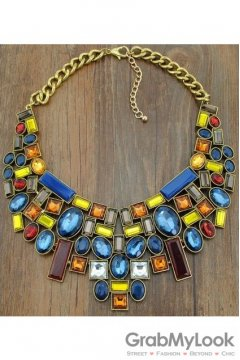 Geometric Rhinestone Crystal Diamante Glamorous Bohemia Vintage Colorful Gold Necklace