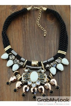 Giant Rhinestone Crystal Diamante Glamorous Tribal Bohemia Vintage Gold White Necklace