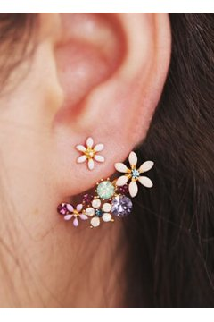 Colorful Diamante Crystal Flowers Floral Earrings Ear Rings Pin