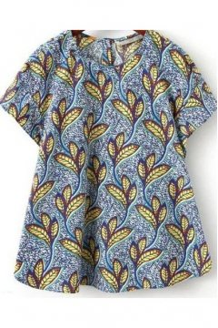 Vintage Tribal Retro Blue Yellow Leaves Short Sleeves A Line Top Shirt