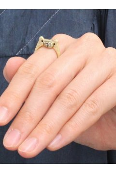 Gold Silver Cute Bear Finger Ring