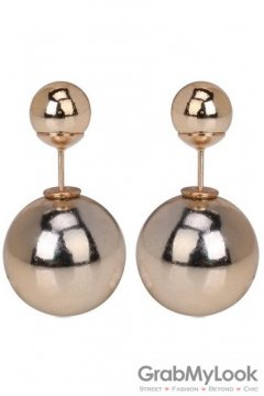 Metal Gold Punk Rock Spheres Balls Earrings Ear Rings Pin
