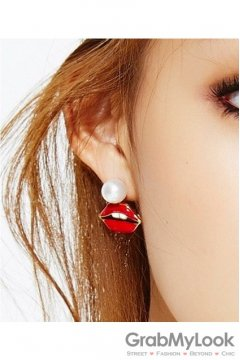 Red Lips and White Pearl Vintage Earrings Ear Pins