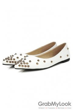 Spike Studs Gold Punk Rock Black White Faux Leather Point Head Ballet Flats