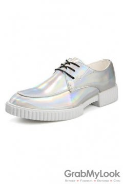 Laser Silver Lace Up Platforms Oxfords Mens Sneakers Shoes