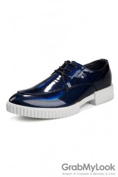 Laser Blue Lace Up Platforms Oxfords Mens Sneakers Shoes