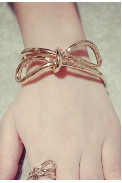 Ribbons Bow Graceful Gold Thin Bracelet Bangle