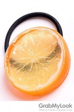 Slice Orange Fruit Rubber Hair Band