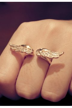 Gold Angel Bird Wings Diamante Finger Ring